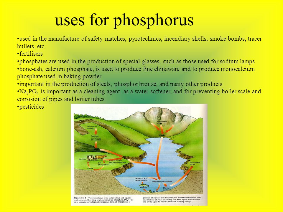 uses for phosphorus used in the manufacture of safety matches, pyrotechnics, incendiary shells, smoke bombs, tracer bullets, etc.