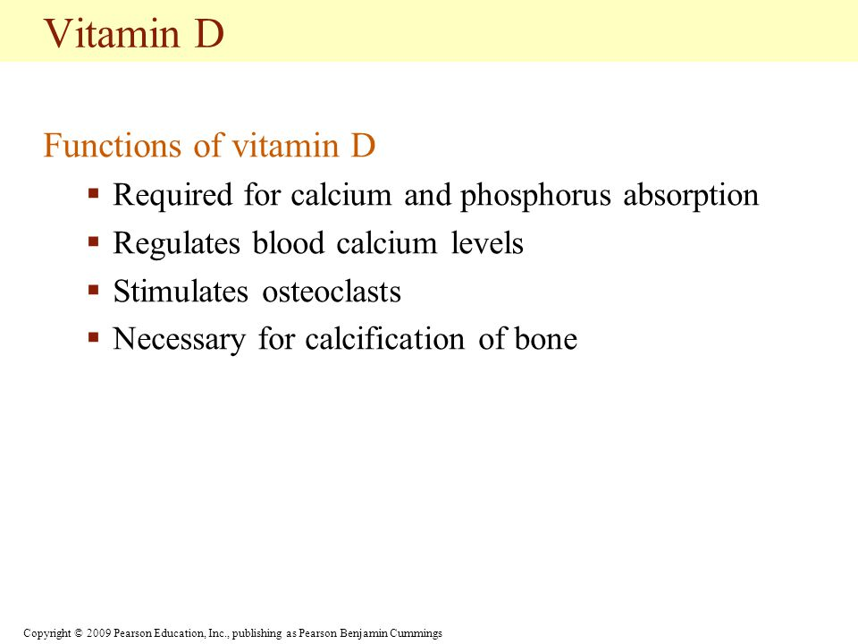 Copyright © 2009 Pearson Education, Inc., publishing as Pearson Benjamin Cummings Vitamin D Functions of vitamin D  Required for calcium and phosphorus absorption  Regulates blood calcium levels  Stimulates osteoclasts  Necessary for calcification of bone