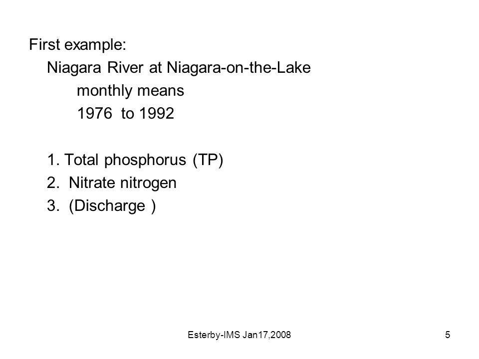 Esterby-IMS Jan17,20085 First example: Niagara River at Niagara-on-the-Lake monthly means 1976 to 1992 1.