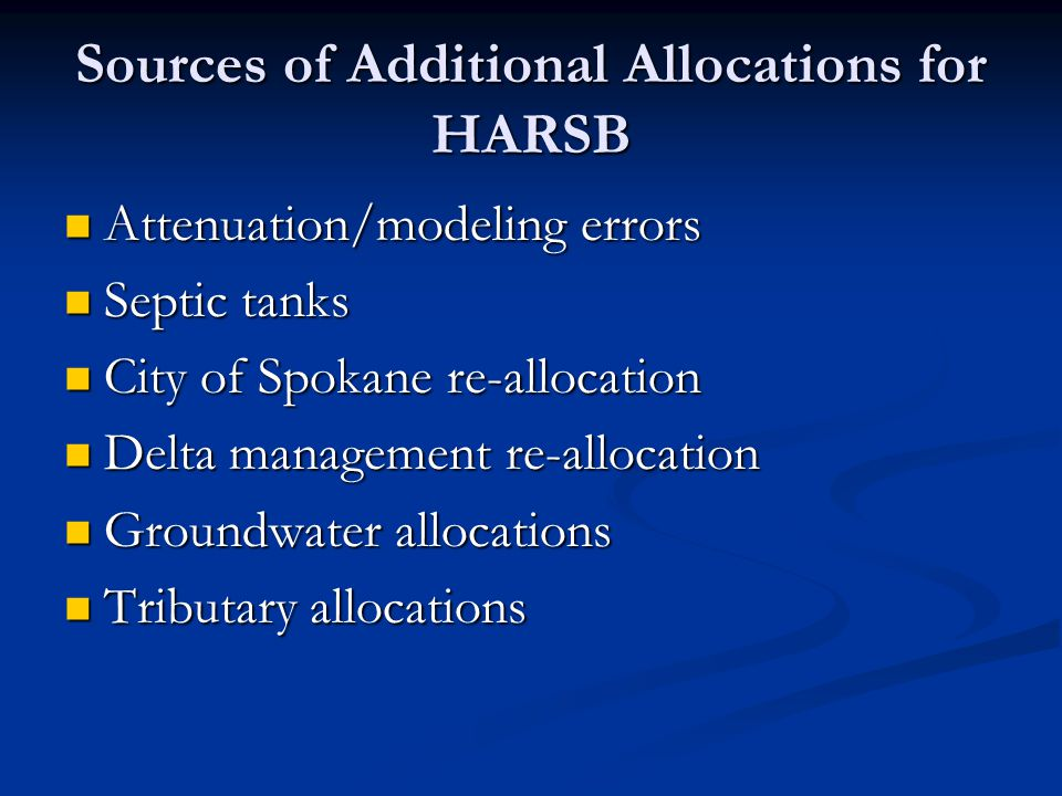 Sources of Additional Allocations for HARSB Attenuation/modeling errors Attenuation/modeling errors Septic tanks Septic tanks City of Spokane re-allocation City of Spokane re-allocation Delta management re-allocation Delta management re-allocation Groundwater allocations Groundwater allocations Tributary allocations Tributary allocations