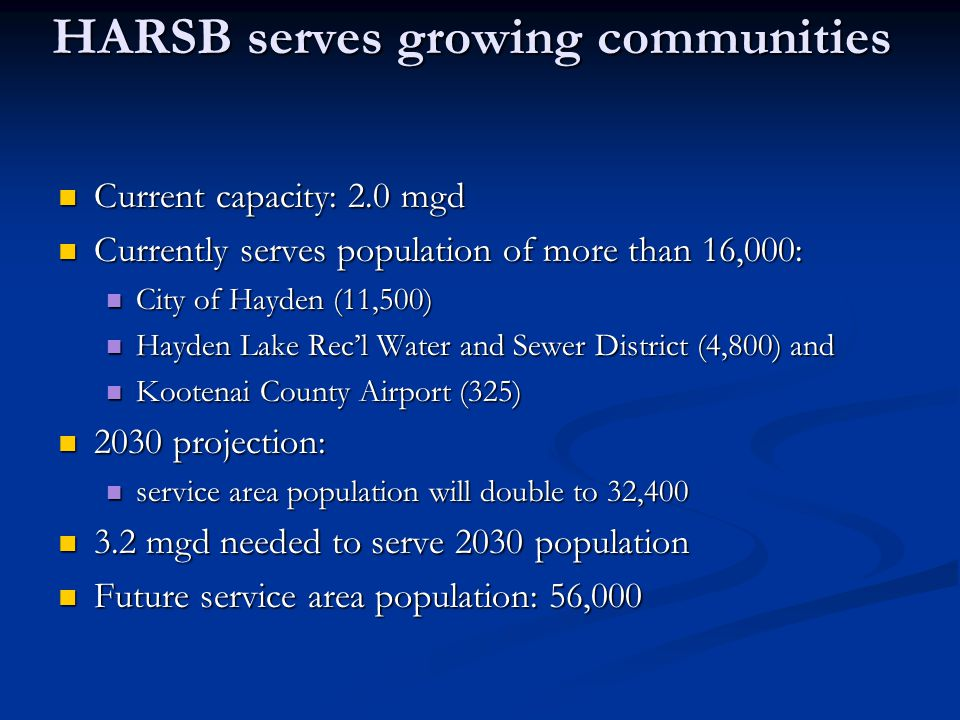 HARSB serves growing communities Current capacity: 2.0 mgd Current capacity: 2.0 mgd Currently serves population of more than 16,000: Currently serves
