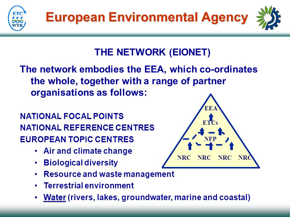 European Environmental Agency THE NETWORK (EIONET) The network embodies the EEA, which co-ordinates the whole, together with a range of partner organisations as follows: NATIONAL FOCAL POINTS NATIONAL REFERENCE CENTRES EUROPEAN TOPIC CENTRES Air and climate change Biological diversity Resource and waste management Terrestrial environment WaterWater (rivers, lakes, groundwater, marine and coastal) EEA NRC NRC NFP ETCs