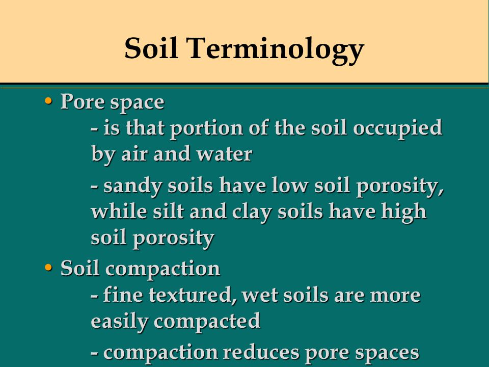 Soil Terminology Pore space - is that portion of the soil occupied by air and water Pore space - is that portion of the soil occupied by air and water