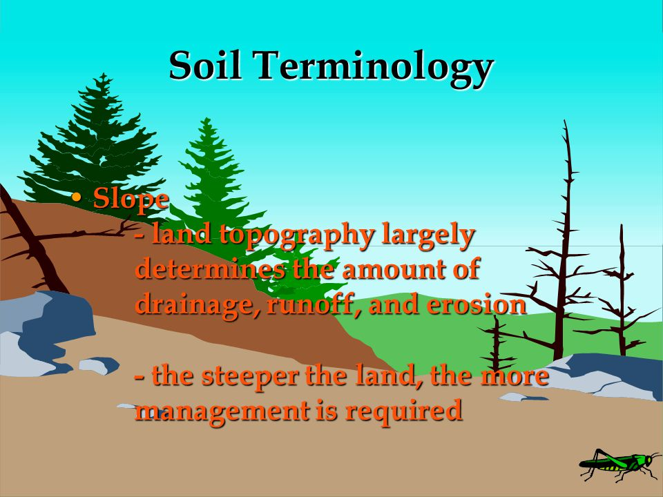 Soil Terminology Slope - land topography largely determines the amount of drainage, runoff, and erosion - the steeper the land, the more management is