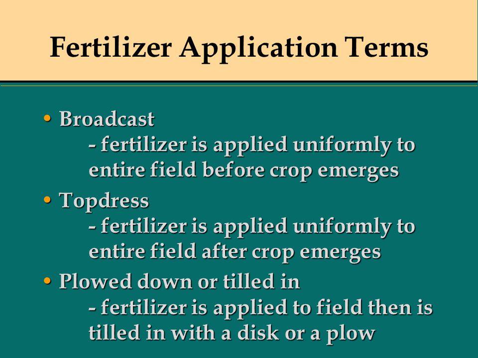 Fertilizer Application Terms Broadcast - fertilizer is applied uniformly to entire field before crop emerges Broadcast - fertilizer is applied uniform