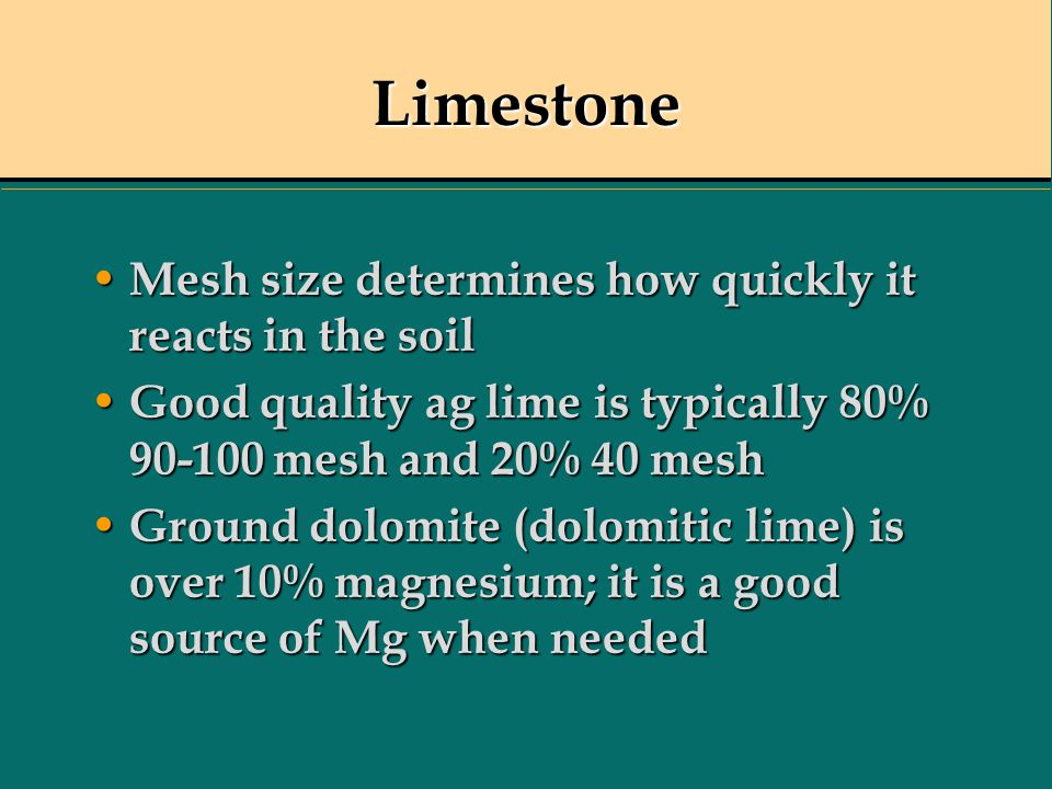 Limestone Mesh size determines how quickly it reacts in the soil Mesh size determines how quickly it reacts in the soil Good quality ag lime is typica