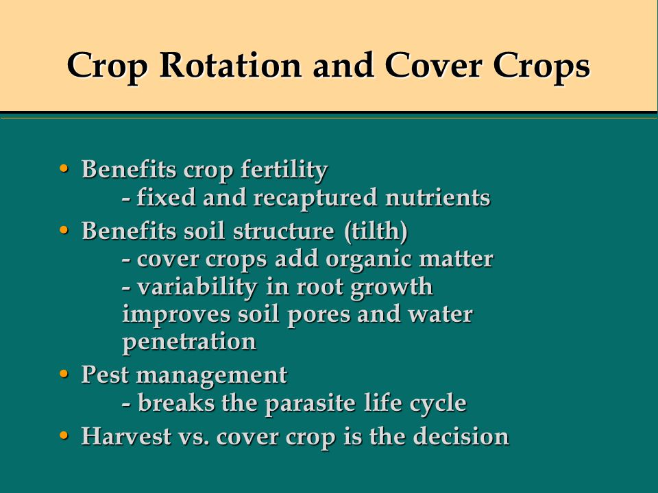 Crop Rotation and Cover Crops Benefits crop fertility - fixed and recaptured nutrients Benefits crop fertility - fixed and recaptured nutrients Benefi