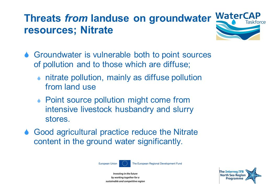 Threats from landuse on groundwater resources; Nitrate  Groundwater is vulnerable both to point sources of pollution and to those which are diffuse;  nitrate pollution, mainly as diffuse pollution from land use  Point source pollution might come from intensive livestock husbandry and slurry stores.