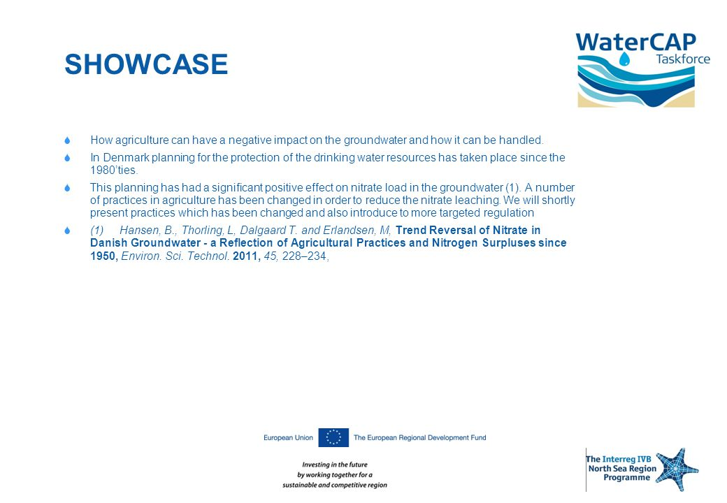 SHOWCASE  How agriculture can have a negative impact on the groundwater and how it can be handled.