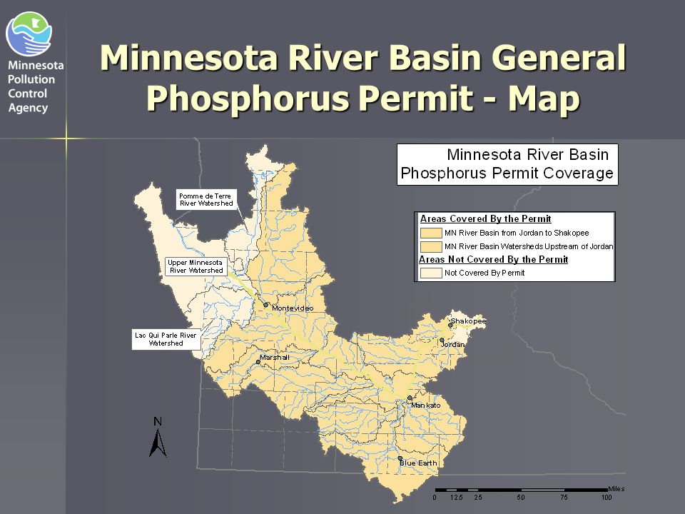 Minnesota River Basin Permit Drivers Lower Minnesota River Watershed Low Dissolved Oxygen TMDL   Low flow dissolved oxygen depletion between Shakopee and the Twin Cities   Upstream sources of phosphorus contribute to excess algal growth   Algal decay causes in stream dissolved oxygen deficiency in the lower 22 miles of the Minnesota River TMDL established waste load allocations for phosphorus sources upstream of Jordan   Individual waste load allocations for the 39 largest continuous dischargers   Collective wasteload allocations for everyone else   Virtually no reserve capacity No phosphorus load allocated for new and expanding facilities