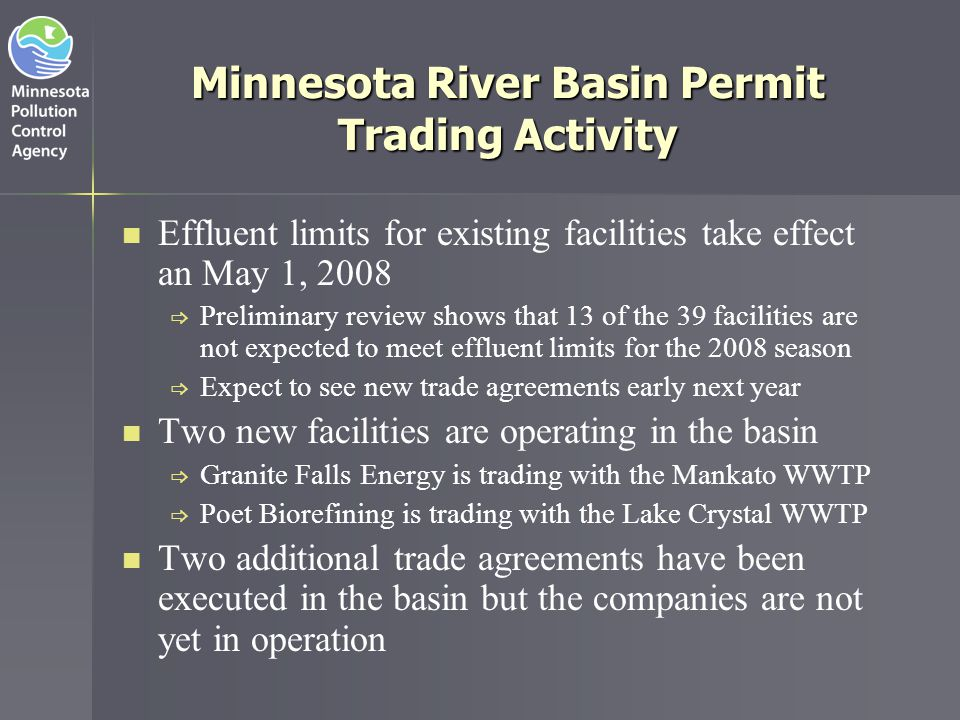 Potential Environmental Benefits of Point/Non-Point Trading Programs Point Source Upgrade Non-Point Source BMPs Pollutant of Concern Yes Other pollutants MaybeYes Habitat creation NoYes Canopy establishment NoYes Stream bank stabilization NoYes Velocity attenuation NoYes Wetland creation NoYes Floodplain management NoYes Assimilative capacity NoYes