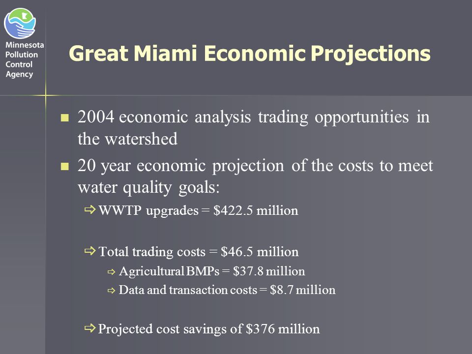 Great Miami Trading Program Results Miami Conservancy District 2006 Annual Report Participating wastewater treatment facilities 5 BMP project proposals received 71 Cost estimate range (combined TP & TN) $0.34 to $12.78/lb Projects funded 15 Executed agreements with county SWCDs 5 Project terms 5 to 12 years Payments to farmers $86,743.84 Payments to SWCDs $6,240.25 Estimated nutrient reductions >36 tons Types of BMPs funded: No-till, pasture seeding/prescribed grazing, cover crops, hay land; conservation crop rotation, filter strips