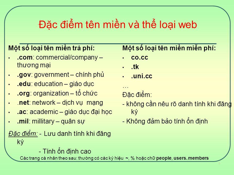 Đặc điểm tên miền và thể loại web Một số loại tên miền trả phí:.com: commercial/company – thương mại.gov: government – chính phủ.edu: education – giáo