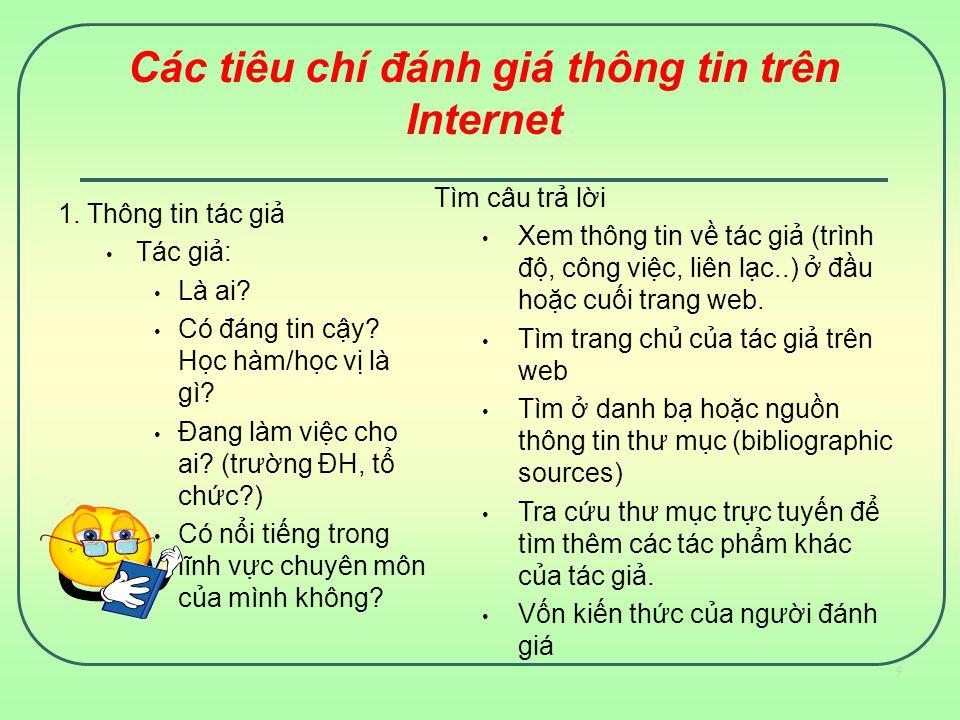 Các tiêu chí đánh giá thông tin trên Internet 1.