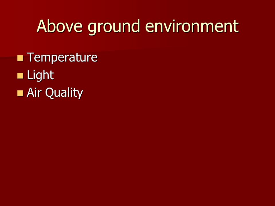 Above ground environment Temperature Temperature Light Light Air Quality Air Quality