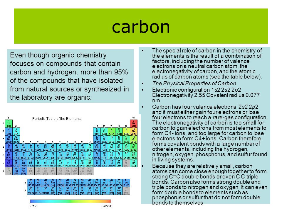 carbon The special role of carbon in the chemistry of the elements is the result of a combination of factors, including the number of valence electron