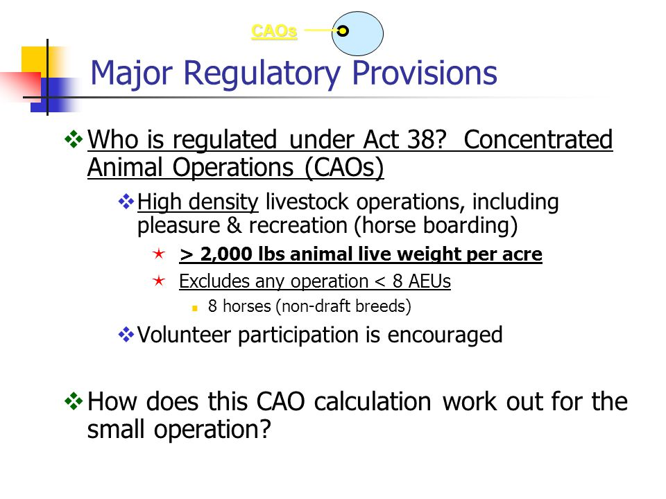 Pa's CAFO Program  Federal program delegated to DEP to administer  Regulates larger animal operations (CAFOs)  > 300 and a CAO (300 horses, etc.), or  Meet EPA animal numbers  500 horses  Requires operation permit (NPDES) from DEP  Individual or general  Generally, same Nutrient Management Plan as CAOs:  application rates, setbacks, fall/winter restrictions, exported manure requirements, field stacking requirements, etc  But, additional restrictions on CAFOs relating to:  Setbacks required on more than just flowing streams, etc  14 day in-field stacking limitation without covering or improved area CAFOs