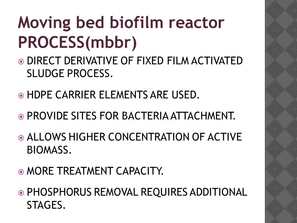 Moving bed biofilm reactor PROCESS(mbbr)  DIRECT DERIVATIVE OF FIXED FILM ACTIVATED SLUDGE PROCESS.