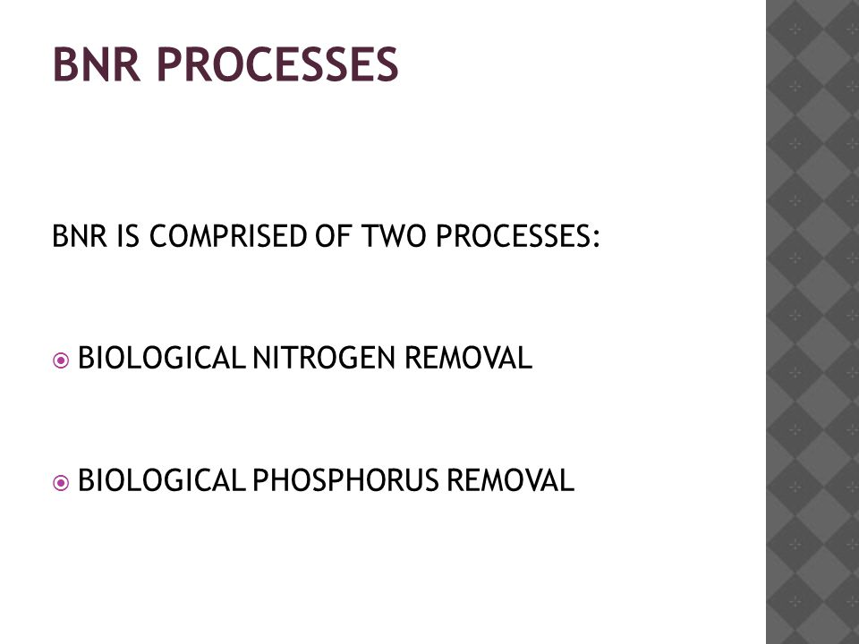 BNR PROCESSES BNR IS COMPRISED OF TWO PROCESSES:  BIOLOGICAL NITROGEN REMOVAL  BIOLOGICAL PHOSPHORUS REMOVAL