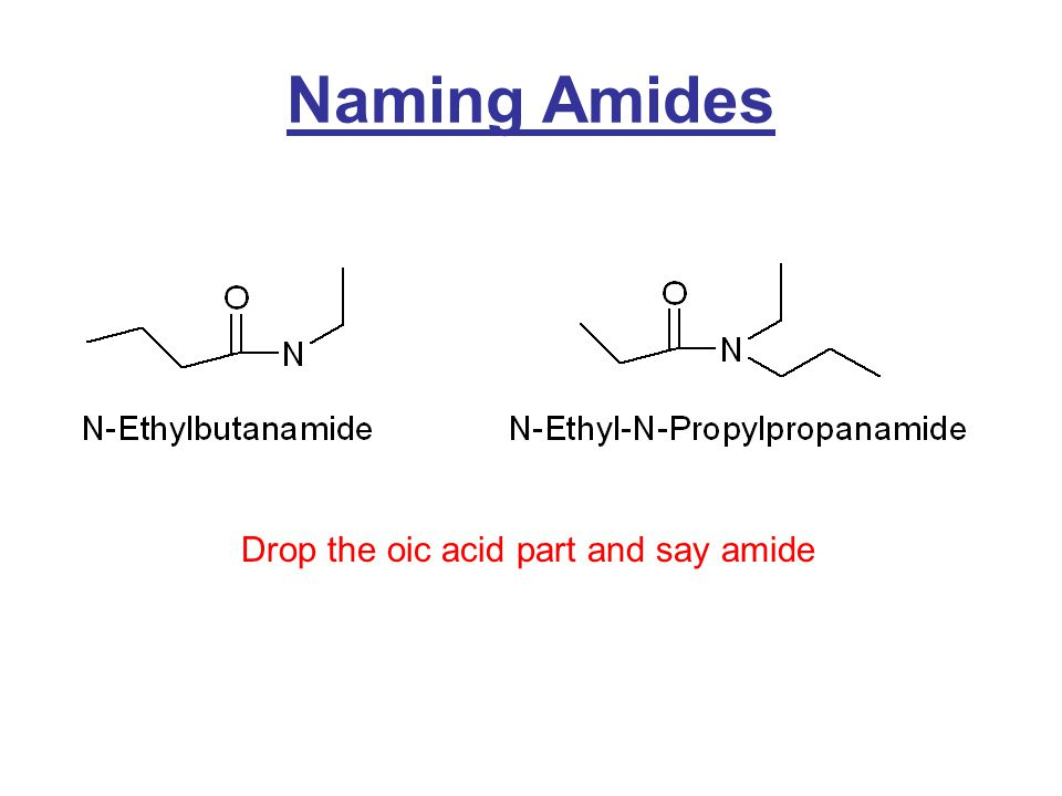 Naming Amides Drop the oic acid part and say amide