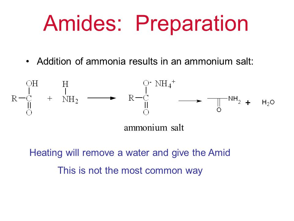 Formation of Amides Anhydride + amine = amide + acid http://www.youtube.com/watch?v=f4I2S0jUoh4 http://www.youtube.com/watch?v=G-k08VVz0Vc Do The YouTube
