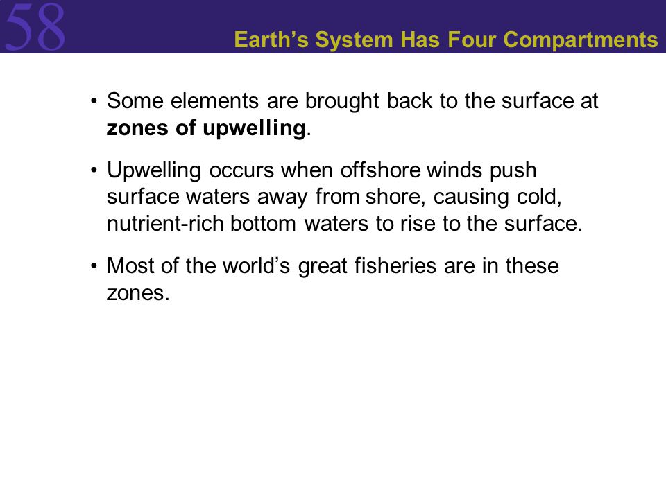 58 Earth's System Has Four Compartments Some elements are brought back to the surface at zones of upwelling. Upwelling occurs when offshore winds push