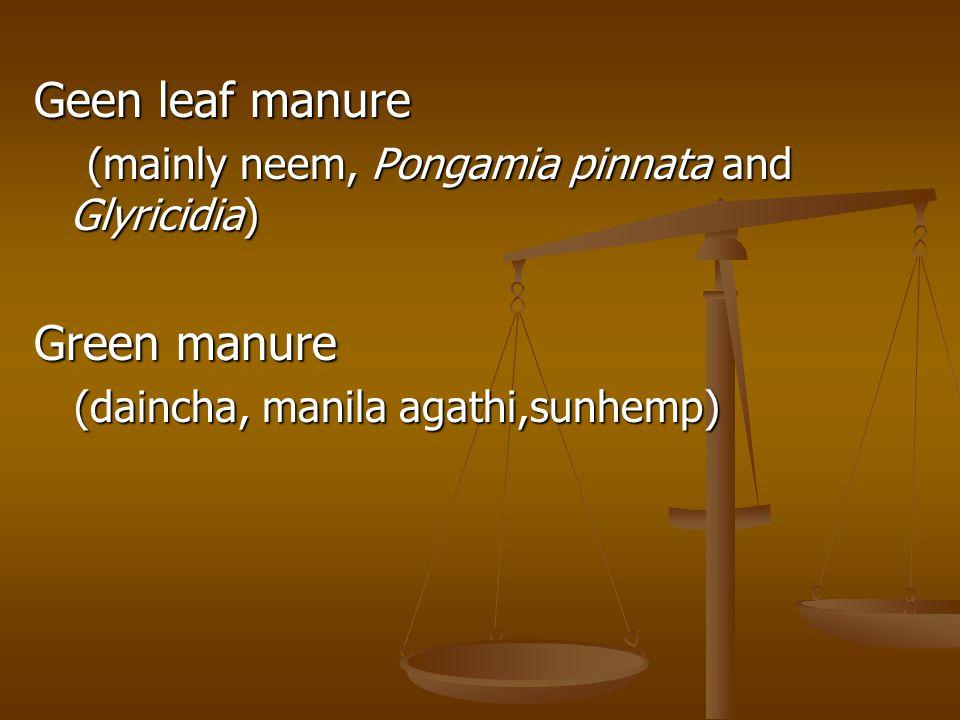 Geen leaf manure (mainly neem, Pongamia pinnata and Glyricidia) (mainly neem, Pongamia pinnata and Glyricidia) Green manure (daincha, manila agathi,sunhemp) (daincha, manila agathi,sunhemp)