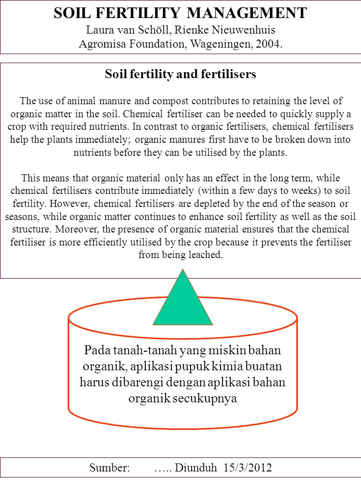 KESUBURAN TANAH DAN BUDIDAYA TANAMAN After an introduction about crop husbandry, organic matter, burning and the local conditions the crop husbandry systems are described in more detail: 1.