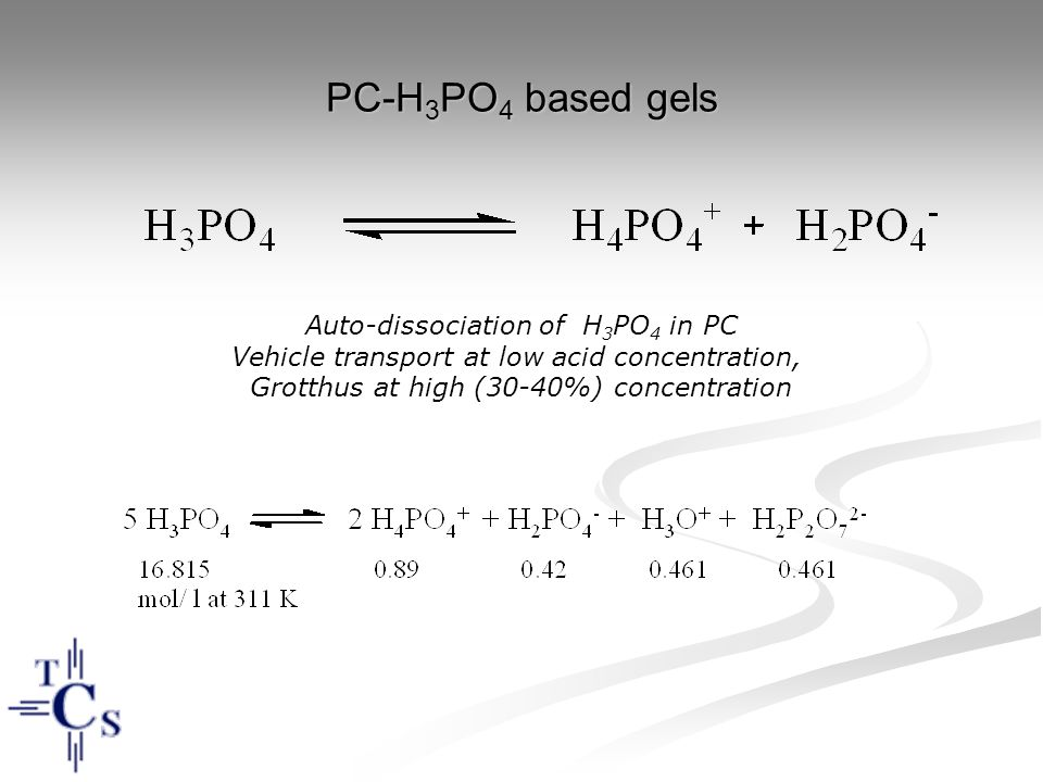 PC-H 3 PO 4 based gels Auto-dissociation of H 3 PO 4 in PC Vehicle transport at low acid concentration, Grotthus at high (30-40%) concentration