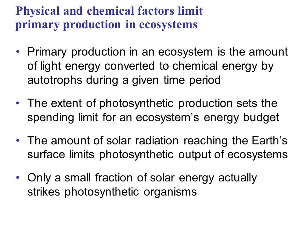 Physical and chemical factors limit primary production in ecosystems Primary production in an ecosystem is the amount of light energy converted to chemical energy by autotrophs during a given time period The extent of photosynthetic production sets the spending limit for an ecosystem's energy budget The amount of solar radiation reaching the Earth's surface limits photosynthetic output of ecosystems Only a small fraction of solar energy actually strikes photosynthetic organisms