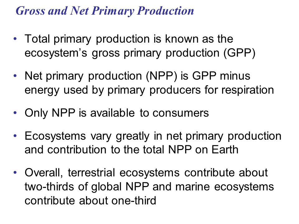 Gross and Net Primary Production Total primary production is known as the ecosystem's gross primary production (GPP) Net primary production (NPP) is GPP minus energy used by primary producers for respiration Only NPP is available to consumers Ecosystems vary greatly in net primary production and contribution to the total NPP on Earth Overall, terrestrial ecosystems contribute about two-thirds of global NPP and marine ecosystems contribute about one-third