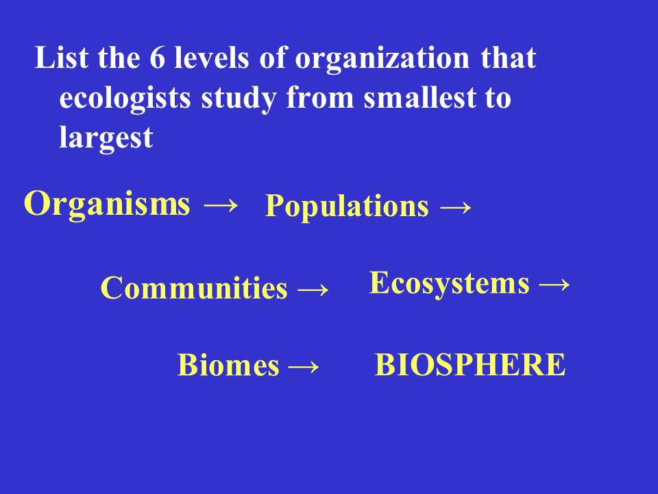 List the 6 levels of organization that ecologists study from smallest to largest Organisms → Populations → Communities → Ecosystems → Biomes → BIOSPHERE
