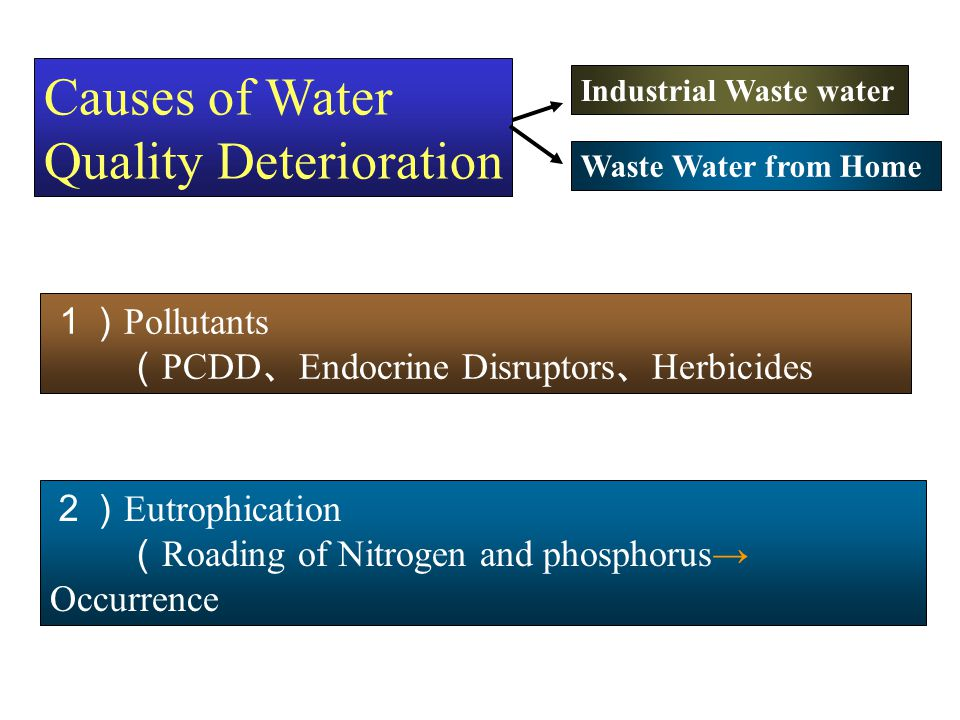 Causes of Water Quality Deterioration Industrial Waste water Waste Water from Home 1) Pollutants ( PCDD 、 Endocrine Disruptors 、 Herbicides etc ) 2) E