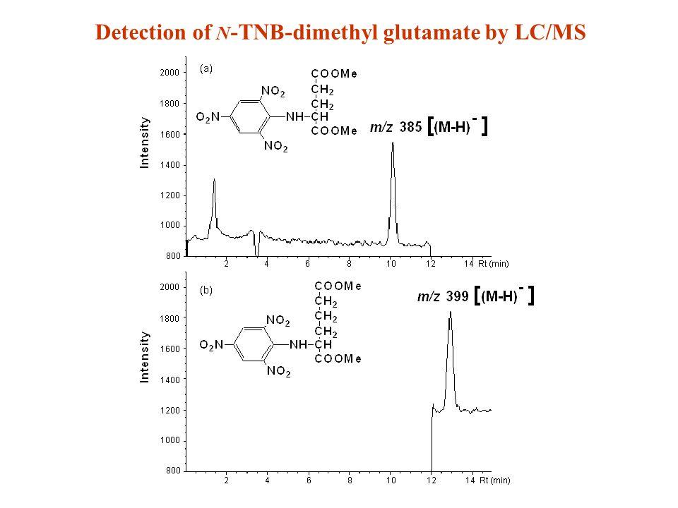 Detection of N -TNB-dimethyl glutamate by LC/MS