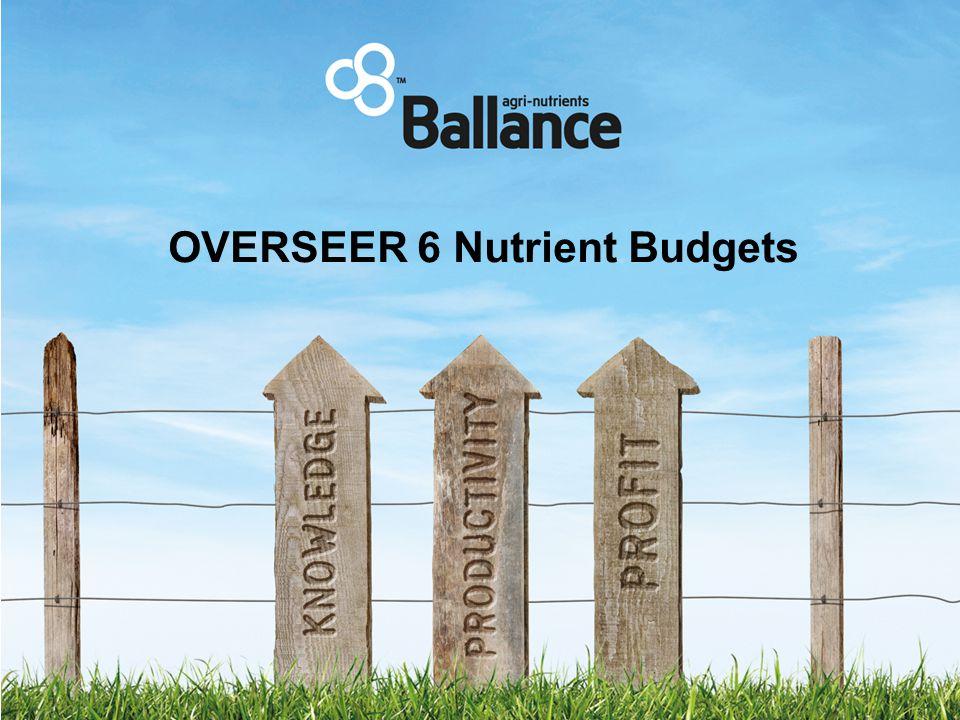 OVERSEER 6 Nutrient Budgets