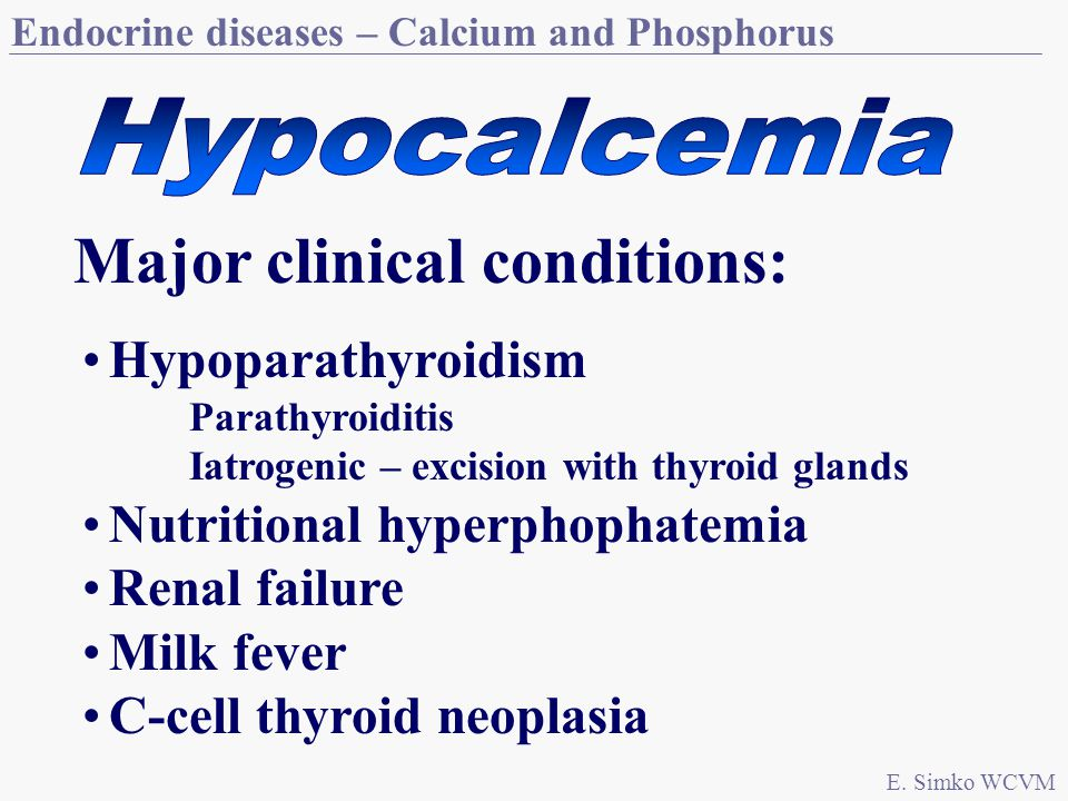 Endocrine diseases – Calcium and Phosphorus E.