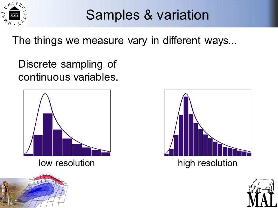 Samples & variation Discrete sampling of continuous variables. The things we measure vary in different ways... low resolutionhigh resolution