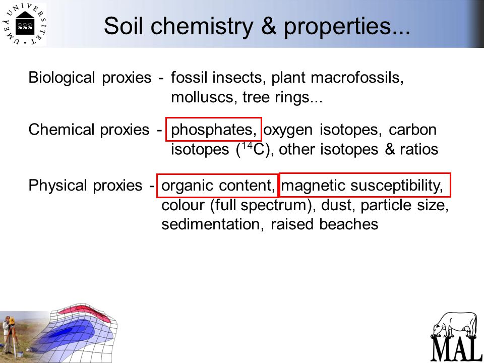 Soil chemistry & properties... Biological proxies - fossil insects, plant macrofossils, molluscs, tree rings... Chemical proxies - phosphates, oxygen