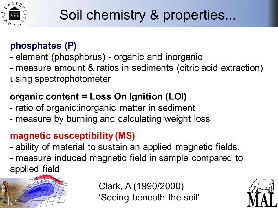 Soil chemistry & properties... phosphates (P) - element (phosphorus) - organic and inorganic - measure amount & ratios in sediments (citric acid extra