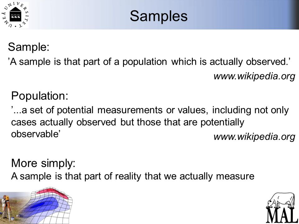 Samples More simply: A sample is that part of reality that we actually measure 'A sample is that part of a population which is actually observed.' www.wikipedia.org Sample: '...a set of potential measurements or values, including not only cases actually observed but those that are potentially observable' Population: www.wikipedia.org