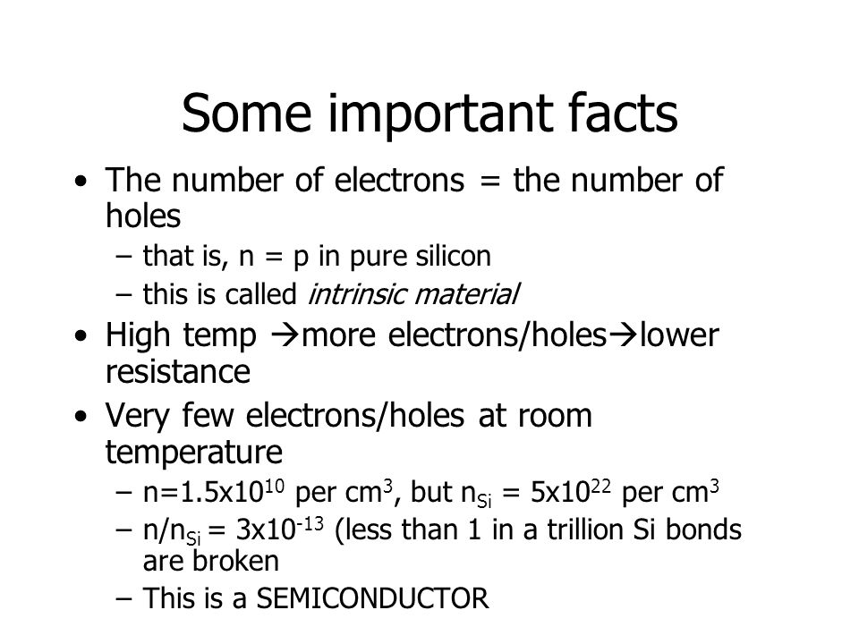 Some important facts The number of electrons = the number of holes –that is, n = p in pure silicon –this is called intrinsic material High temp  more electrons/holes  lower resistance Very few electrons/holes at room temperature –n=1.5x10 10 per cm 3, but n Si = 5x10 22 per cm 3 –n/n Si = 3x10 -13 (less than 1 in a trillion Si bonds are broken –This is a SEMICONDUCTOR