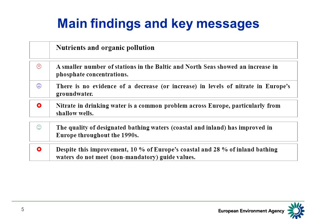 5 Main findings and key messages Nutrients and organic pollution  A smaller number of stations in the Baltic and North Seas showed an increase in pho