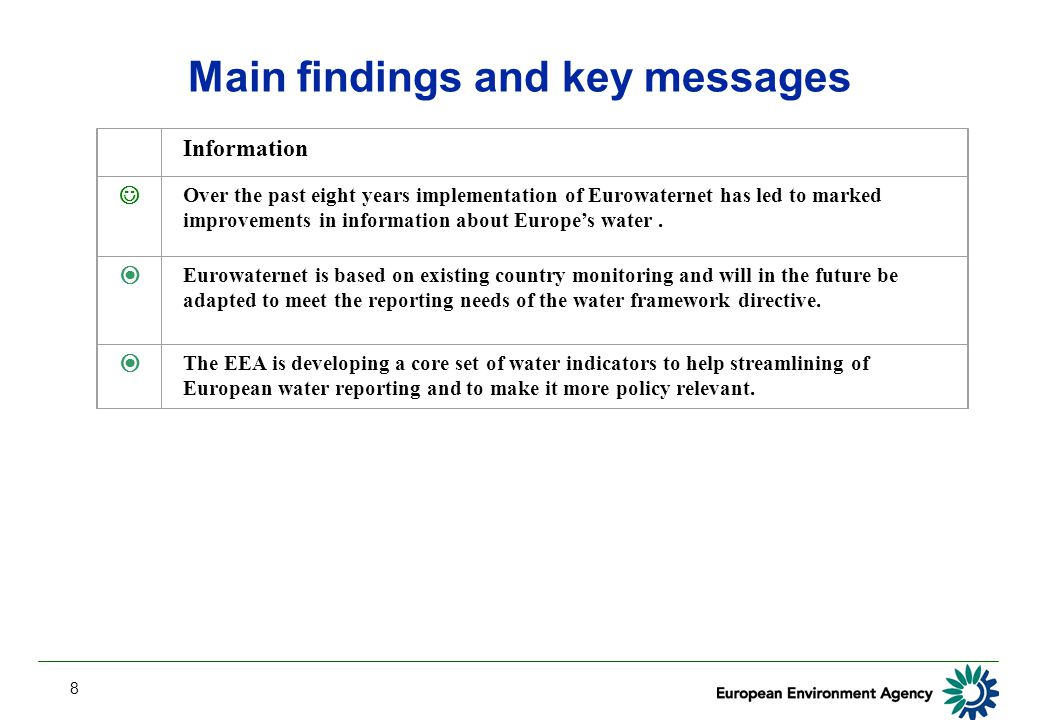 8 Main findings and key messages Information Over the past eight years implementation of Eurowaternet has led to marked improvements in information ab