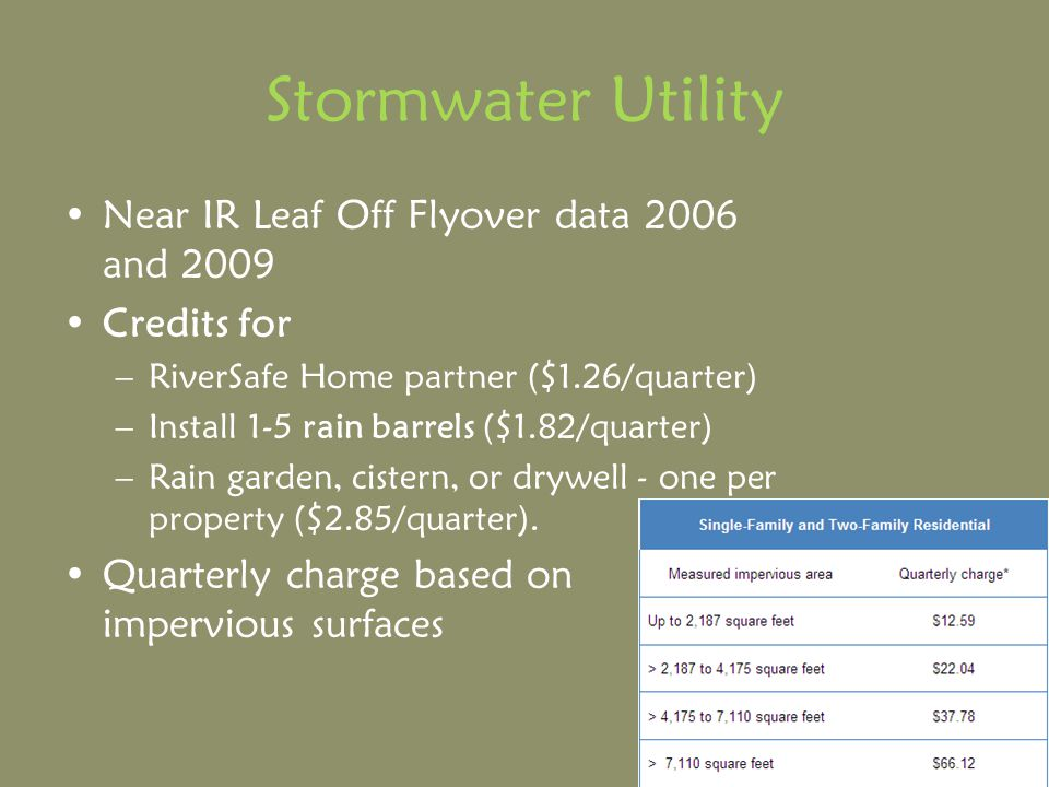 Stormwater Utility Near IR Leaf Off Flyover data 2006 and 2009 Credits for –RiverSafe Home partner ($1.26/quarter) –Install 1-5 rain barrels ($1.82/quarter) –Rain garden, cistern, or drywell - one per property ($2.85/quarter).