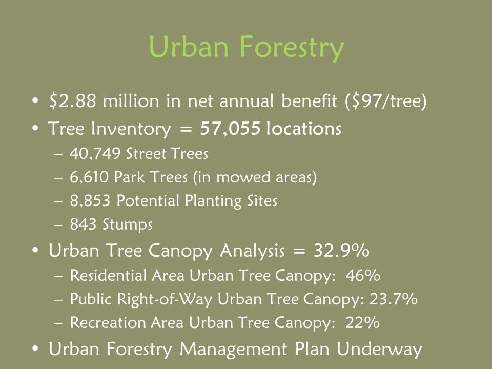 $2.88 million in net annual benefit ($97/tree) Tree Inventory = 57,055 locations –40,749 Street Trees –6,610 Park Trees (in mowed areas) –8,853 Potential Planting Sites –843 Stumps Urban Tree Canopy Analysis = 32.9% –Residential Area Urban Tree Canopy: 46% –Public Right-of-Way Urban Tree Canopy: 23.7% –Recreation Area Urban Tree Canopy: 22% Urban Forestry Management Plan Underway