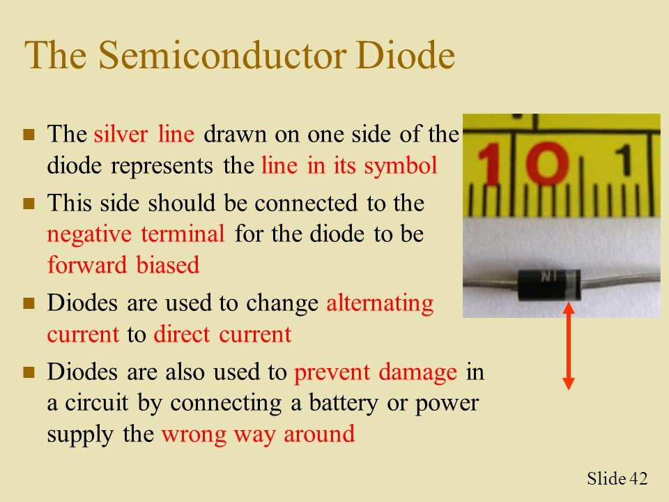 The Semiconductor Diode The silver line drawn on one side of the diode represents the line in its symbol This side should be connected to the negative