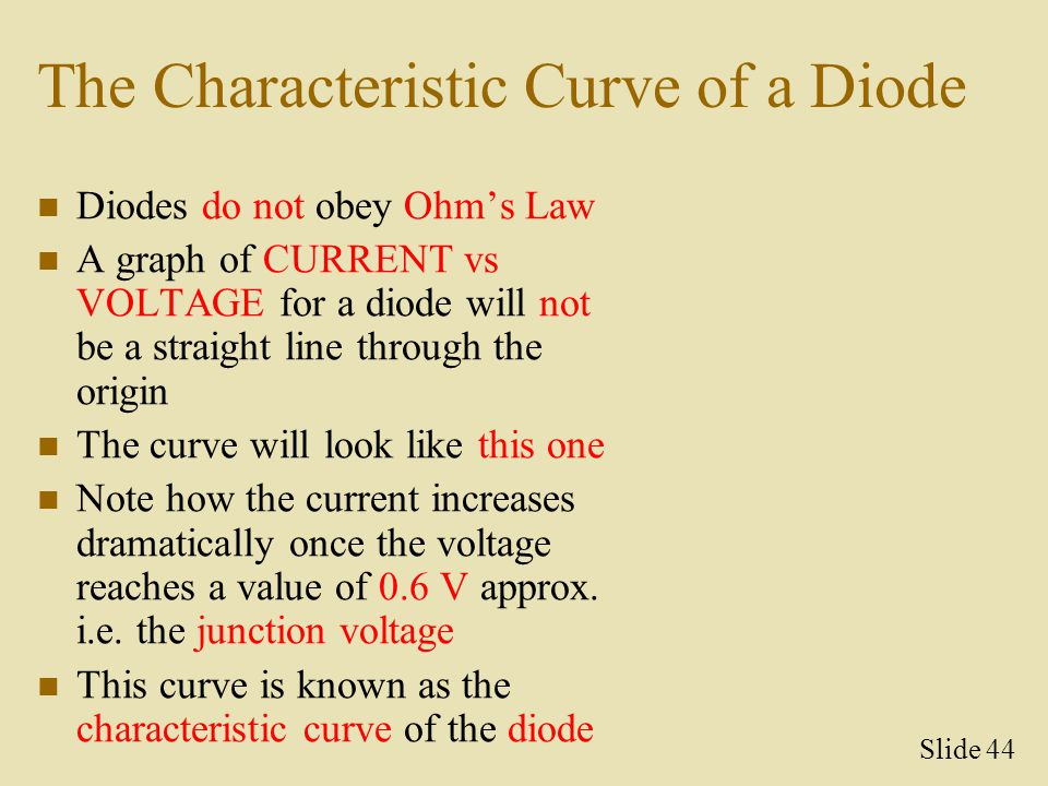 The Characteristic Curve of a Diode Diodes do not obey Ohm's Law A graph of CURRENT vs VOLTAGE for a diode will not be a straight line through the ori
