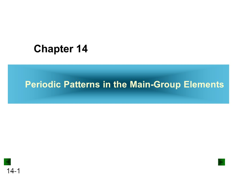 14-2 Periodic Patterns in the Main-Group Elements 14.1Hydrogen, the Simplest Atom 14.2Trends Across the Periodic Table: The Period 2 Elements 14.3Group 1A(1): The Alkali Metals 14.4Group 2A(2): The Alkaline Earth Metals 14.5Group 3A(13): The Boron Family 14.6Group 4A(14): The Carbon Family 14.7Group 5A(15): The Nitrogen Family 14.8Group 6A(16): The Oxygen Family 14.9Group 7A(17): The Halogens 14.10Group 8A(18): The Noble Gases