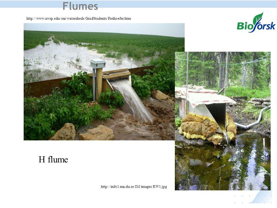 Flumes http://www.uwsp.edu/cnr/watersheds/GradStudents/Freihoefer.htm http://info1.ma.slu.se/IM/images/RW1.jpg H flume