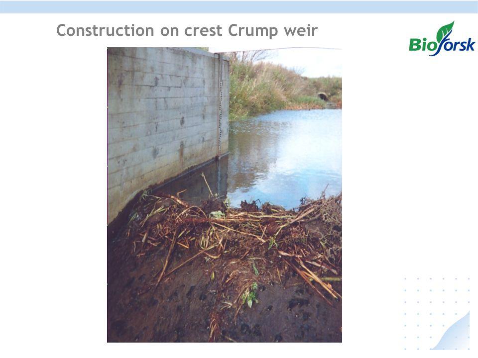 Construction on crest Crump weir